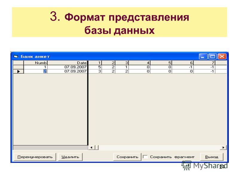 24 3. Формат представления базы данных