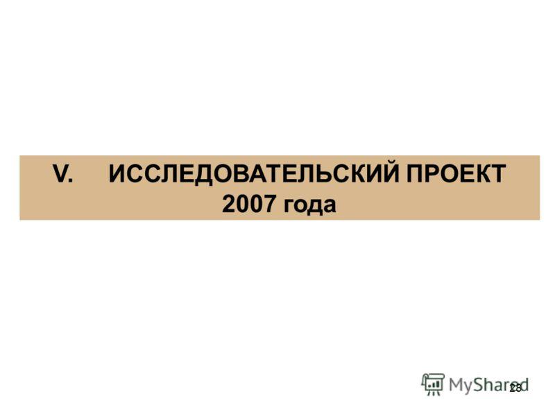 28 V. ИССЛЕДОВАТЕЛЬСКИЙ ПРОЕКТ 2007 года