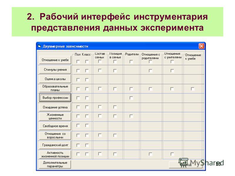 36 2. Рабочий интерфейс инструментария представления данных эксперимента