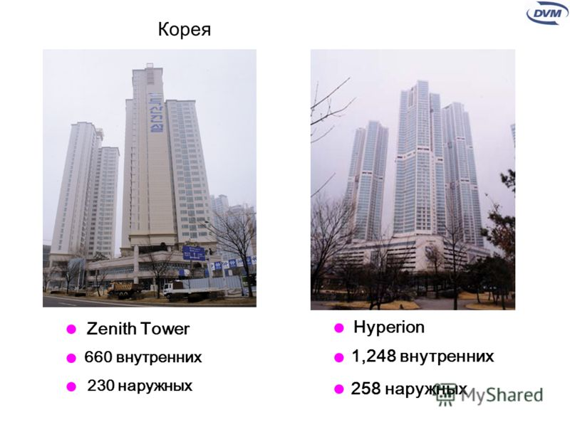 Hyperion 1,248 внутренних 258 наружных 660 внутренних 230 наружных Zenith Tower Корея