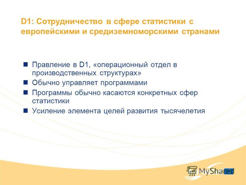 D1: Сотрудничество в сфере статистики с европейскими и средиземноморскими странами Правление в D1, «операционный отдел в производственных структурах» Обычно управляет программами Программы обычно касаются конкретных сфер статистики Усиление элемента