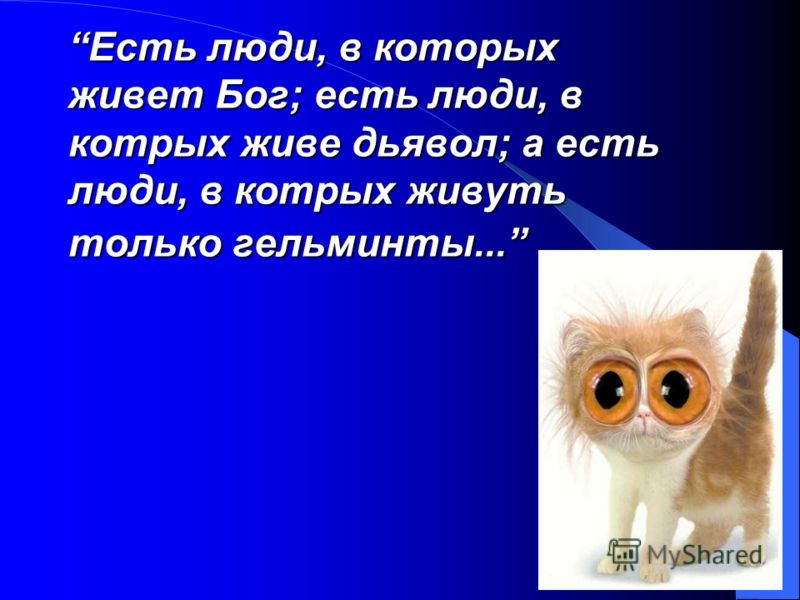Есть люди, в которых живет Бог; есть люди, в котрых живе дьявол; а есть люди, в котрых живуть только гельминты...