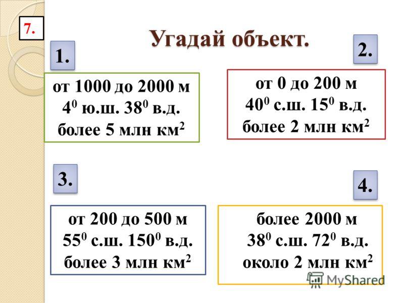 Угадай объект. более 2000 м 38 0 с.ш. 72 0 в.д. около 2 млн км 2 от 1000 до 2000 м 4 0 ю.ш. 38 0 в.д. более 5 млн км 2 от 0 до 200 м 40 0 с.ш. 15 0 в.д. более 2 млн км 2 1. 2. от 200 до 500 м 55 0 с.ш. 150 0 в.д. более 3 млн км 2 3. 4. 7.