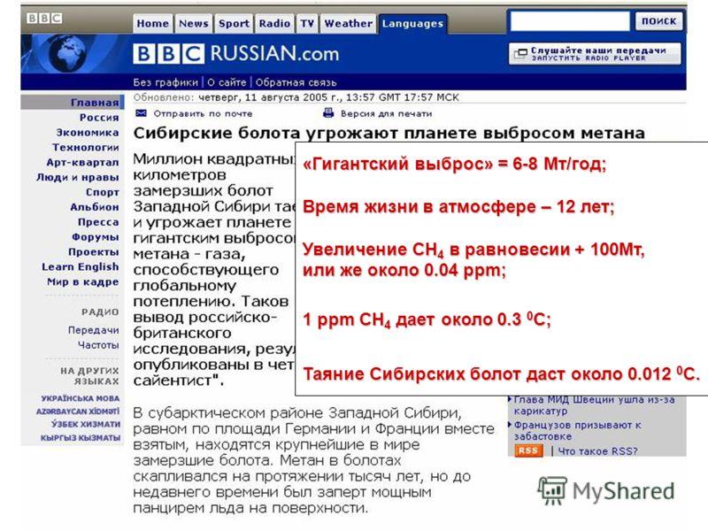 «Гигантский выброс» = 6-8 Mт/год; Время жизни в атмосфере – 12 лет; Увеличение СН 4 в равновесии + 100Мт, или же около 0.04 ppm; 1 ppm СН 4 дает около 0.3 0 С; Таяние Сибирских болот даст около 0.012 0 С.