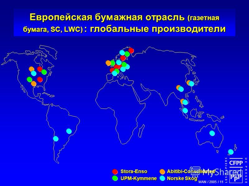 WAN / 2005 / 11 Stora-EnsoAbitibi-Consolidated UPM-KymmeneNorske Skog Европейская бумажная отрасль (газетная бумага, SC, LWC) : глобальные производители