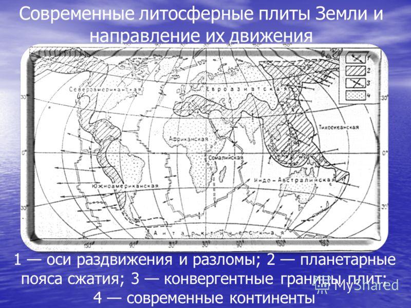 Современные литосферные плиты Земли и направление их движения 1 оси раздвижения и разломы; 2 планетарные пояса сжатия; 3 конвергентные границы плит; 4 современные континенты