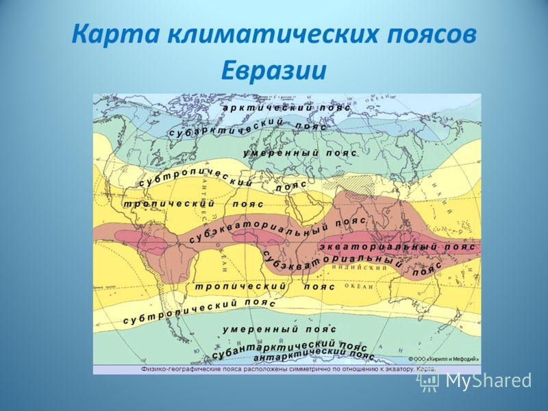 Карта климатических поясов Евразии