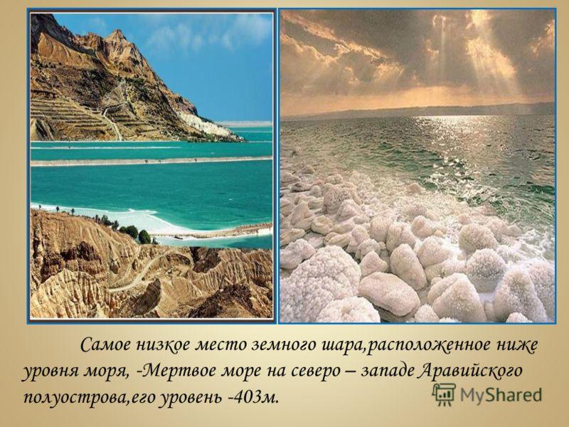Самое низкое место земного шара,расположенное ниже уровня моря, -Мертвое море на северо – западе Аравийского полуострова,его уровень -403м.
