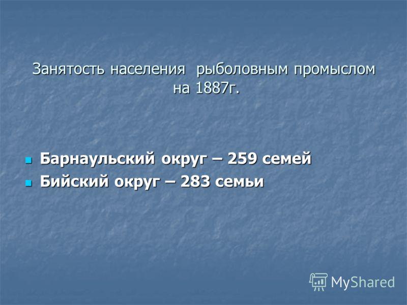 Занятость населения рыболовным промыслом на 1887г. Барнаульский округ – 259 семей Барнаульский округ – 259 семей Бийский округ – 283 семьи Бийский округ – 283 семьи