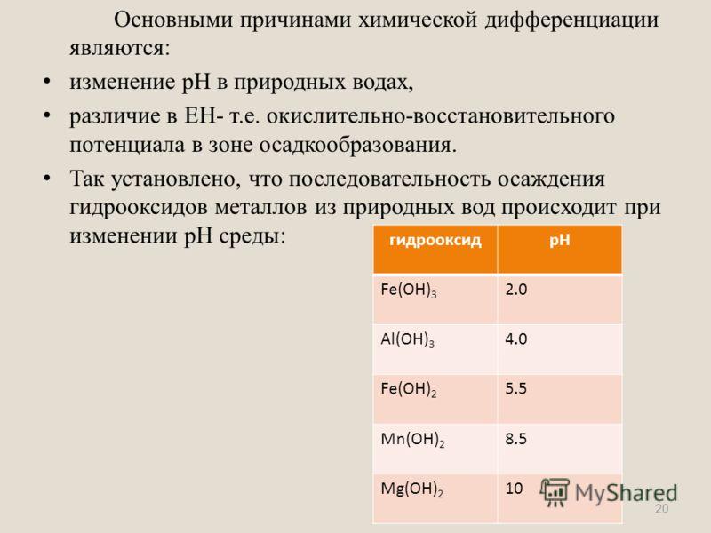 Основными причинами химической дифференциации являются: изменение pH в природных водах, различие в ЕН- т.е. окислительно-восстановительного потенциала в зоне осадкообразования. Так установлено, что последовательность осаждения гидрооксидов металлов и