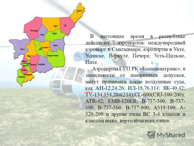 9 В настоящее время в республике действуют 7 аэропортов: международный аэропорт в Сыктывкаре, аэропорты в Ухте, Усинске, Воркуте, Печоре, Усть-Цильме, Инте. Аэропорты ГУП РК «Комиавиатранс», в зависимости от имеющихся допусков, могут принимать такие