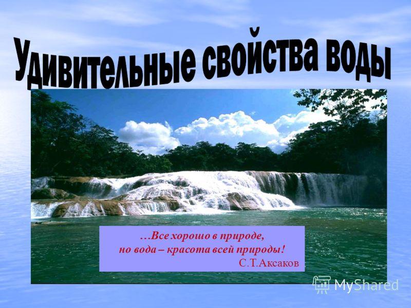 …Все хорошо в природе, но вода – красота всей природы! С.Т.Аксаков