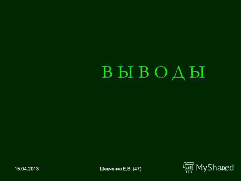 В Ы В О Д Ы 15.04.201345Шевченко Е.В. (47)