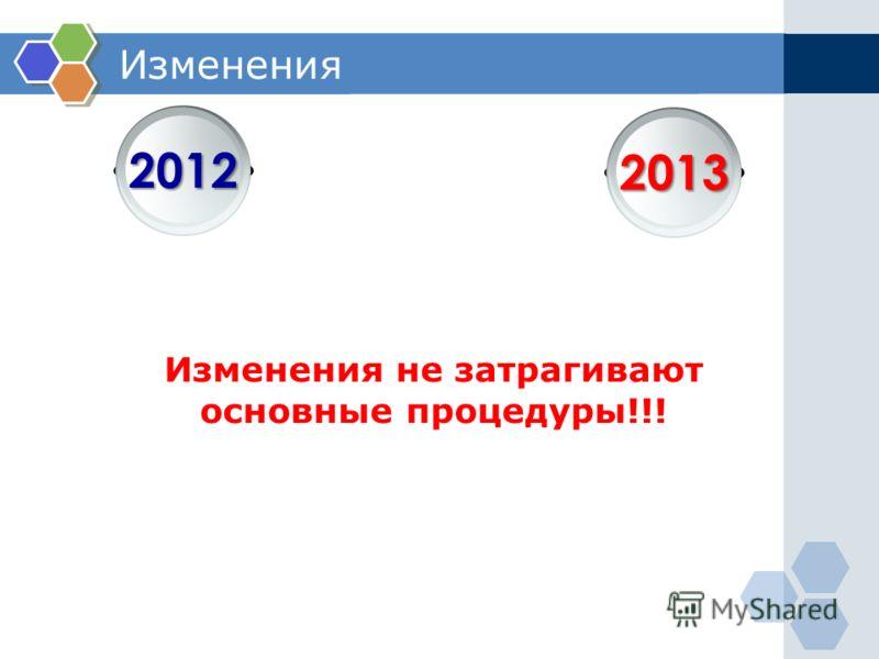 Изменения Изменения не затрагивают основные процедуры!!! 2013 2012
