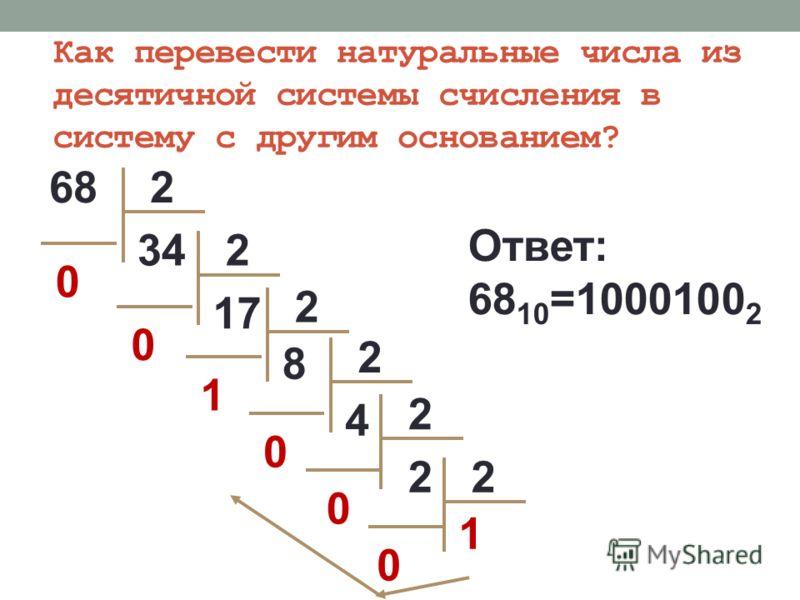 682 2 234 0 17 0 2 2 8 1 4 0 2 0 1 0 2 Ответ: 68 10 =1000100 2 Как перевести натуральные числа из десятичной системы счисления в систему с другим основанием?