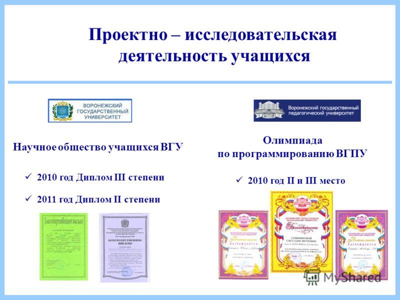 Научное общество учащихся ВГУ Олимпиада по программированию ВГПУ 2010 год II и III место 2010 год Диплом III степени 2011 год Диплом II степени Проектно – исследовательская деятельность учащихся