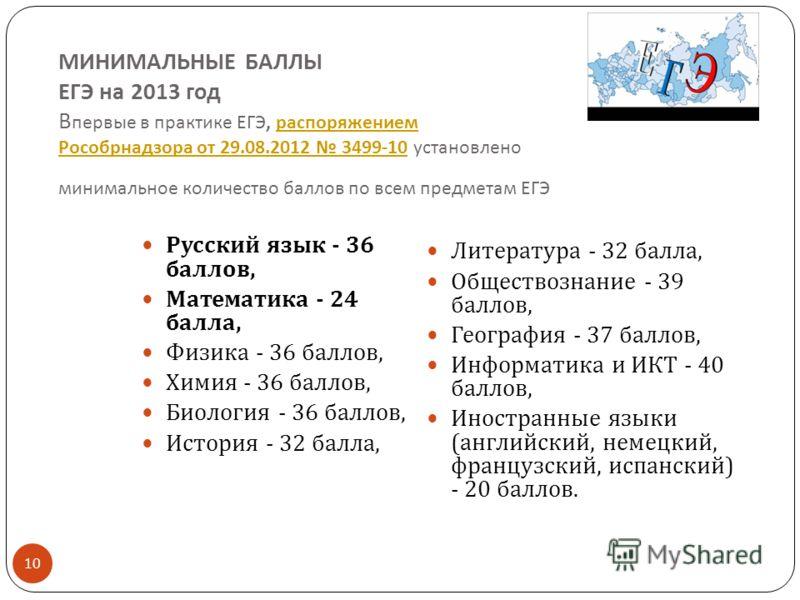 МИНИМАЛЬНЫЕ БАЛЛЫ ЕГЭ на 2013 год В первые в практике ЕГЭ, распоряжением Рособрнадзора от 29.08.2012 3499-10 установлено минимальное количество баллов по всем предметам ЕГЭ распоряжением Рособрнадзора от 29.08.2012 3499-10 10 Русский язык - 36 баллов