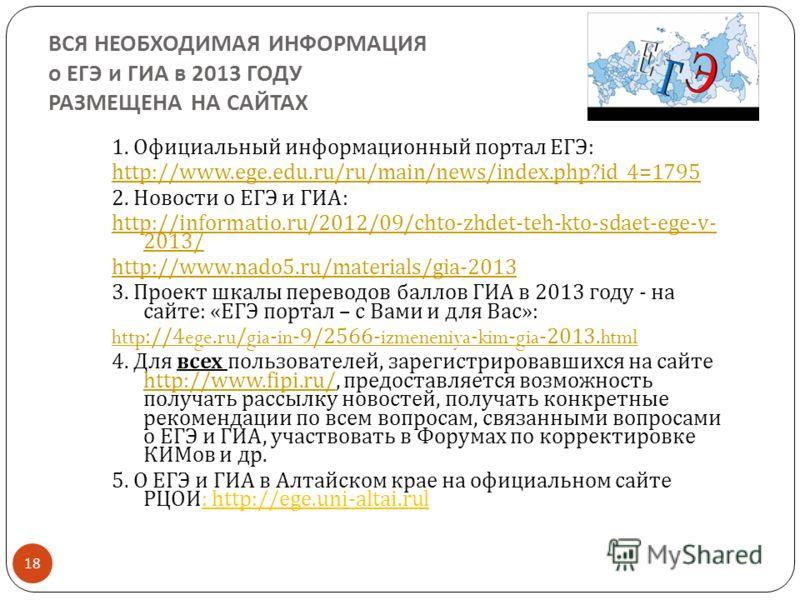 ВСЯ НЕОБХОДИМАЯ ИНФОРМАЦИЯ о ЕГЭ и ГИА в 2013 ГОДУ РАЗМЕЩЕНА НА САЙТАХ 18 1. Официальный информационный портал ЕГЭ : http://www.ege.edu.ru/ru/main/news/index.php?id_4=1795 2. Новости о ЕГЭ и ГИА : http://informatio.ru/2012/09/chto-zhdet-teh-kto-sdaet