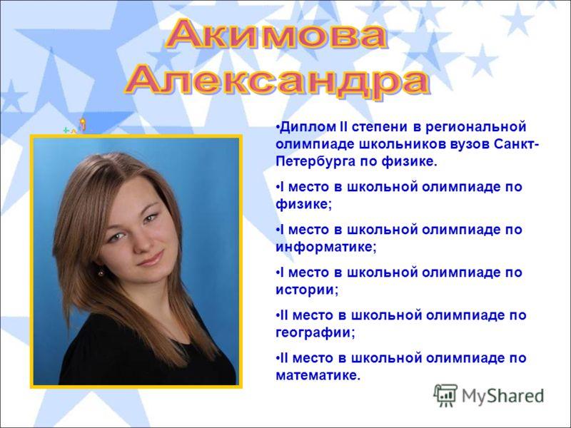 Диплом II степени в региональной олимпиаде школьников вузов Санкт- Петербурга по физике. I место в школьной олимпиаде по физике; I место в школьной олимпиаде по информатике; I место в школьной олимпиаде по истории; II место в школьной олимпиаде по ге