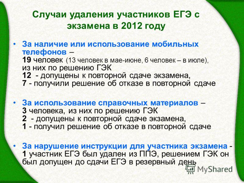 Случаи удаления участников ЕГЭ с экзамена в 2012 году За наличие или использование мобильных телефонов – 19 человек (13 человек в мае-июне, 6 человек – в июле), из них по решению ГЭК 12 - допущены к повторной сдаче экзамена, 7 - получили решение об о