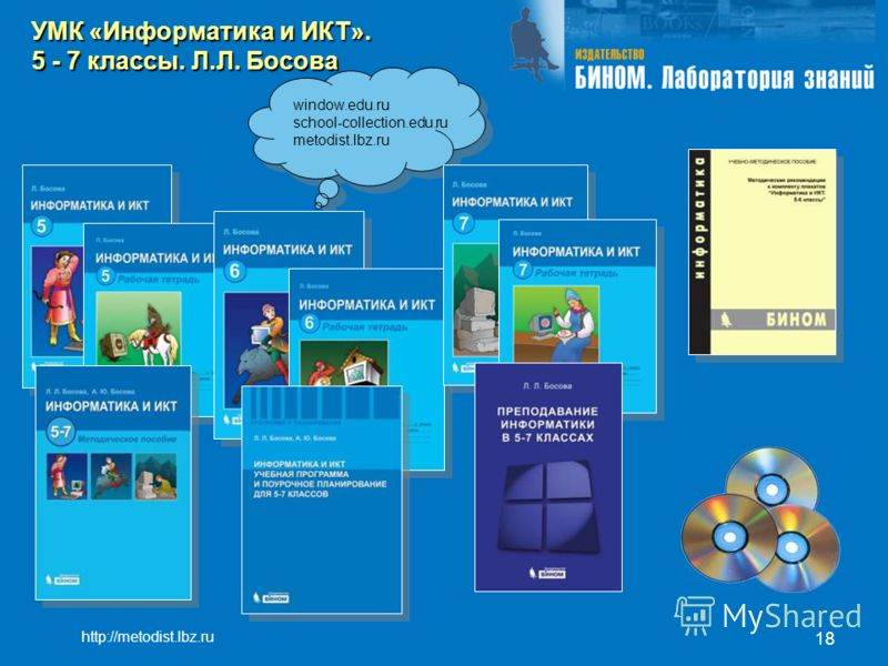 18 window.edu.ru school-collection.edu.ru metodist.lbz.ru УМК «Информатика и ИКТ». 5 - 7 классы. Л.Л. Босова http://metodist.lbz.ru
