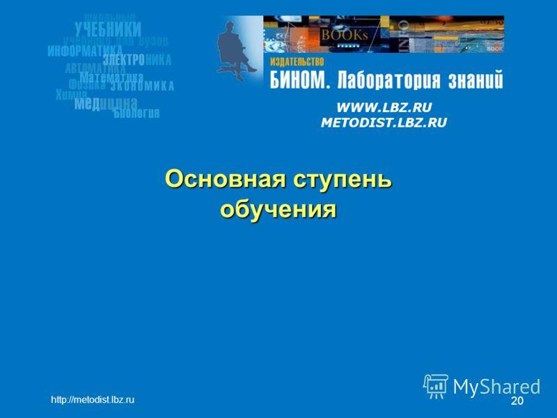 WWW.LBZ.RU METODIST.LBZ.RU 20 Основная ступень обучения http://metodist.lbz.ru