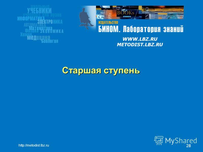 WWW.LBZ.RU METODIST.LBZ.RU 28 Старшая ступень http://metodist.lbz.ru