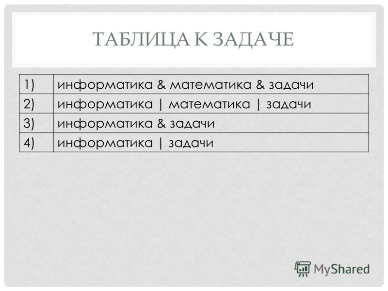 1)информатика & математика & задачи 2)информатика | математика | задачи 3)информатика & задачи 4)информатика | задачи ТАБЛИЦА К ЗАДАЧЕ