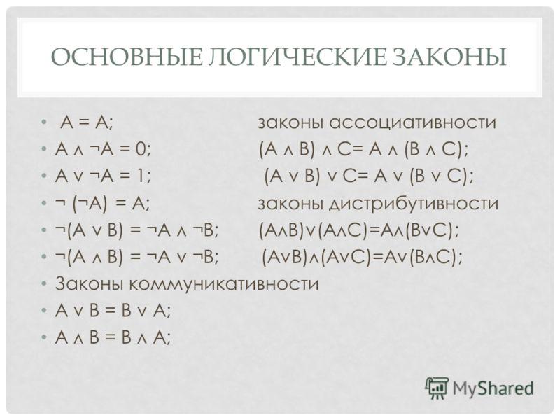 ОСНОВНЫЕ ЛОГИЧЕСКИЕ ЗАКОНЫ А = А;законы ассоциативности А л ¬А = 0;(А л В) л С= А л (В л С); А v ¬А = 1; (А v В) v С= А v (В v С); ¬ (¬А) = А;законы дистрибутивности ¬(А v B) = ¬А л ¬В;(АлВ)v(AлС)=Ал(ВvС); ¬(А л B) = ¬А v ¬В; (АvВ)л(AvС)=Аv(ВлС); Зак