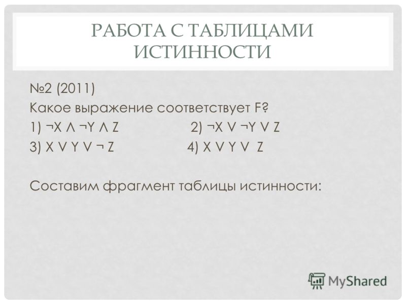 2 (2011) Какое выражение соответствует F? 1) ¬X Л ¬Y Л Z 2) ¬X V ¬Y V Z 3) X V Y V ¬ Z4) X V Y V Z Составим фрагмент таблицы истинности: РАБОТА С ТАБЛИЦАМИ ИСТИННОСТИ
