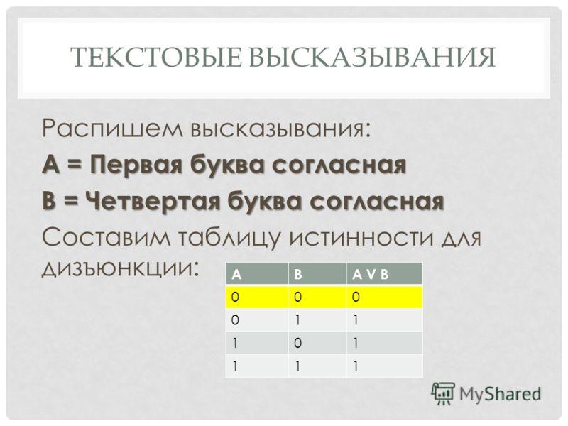 ТЕКСТОВЫЕ ВЫСКАЗЫВАНИЯ Распишем высказывания: А = Первая буква согласная В = Четвертая буква согласная Составим таблицу истинности для дизъюнкции: АВА V В 000 011 101 111