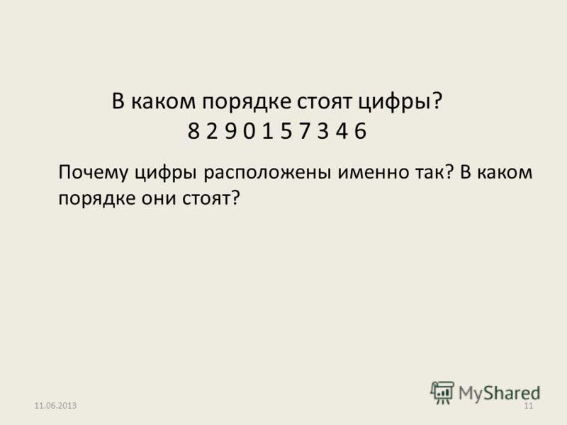 В каком порядке стоят цифры? 8 2 9 0 1 5 7 3 4 6 Почему цифры расположены именно так? В каком порядке они стоят? 11.06.201311