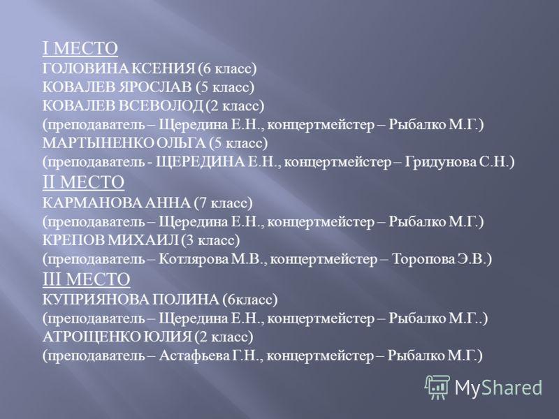 I МЕСТО ГОЛОВИНА КСЕНИЯ (6 класс ) КОВАЛЕВ ЯРОСЛАВ (5 класс ) КОВАЛЕВ ВСЕВОЛОД (2 класс ) ( преподаватель – Щередина Е. Н., концертмейстер – Рыбалко М. Г.) МАРТЫНЕНКО ОЛЬГА (5 класс ) ( преподаватель - ЩЕРЕДИНА Е. Н., концертмейстер – Гридунова С. Н.