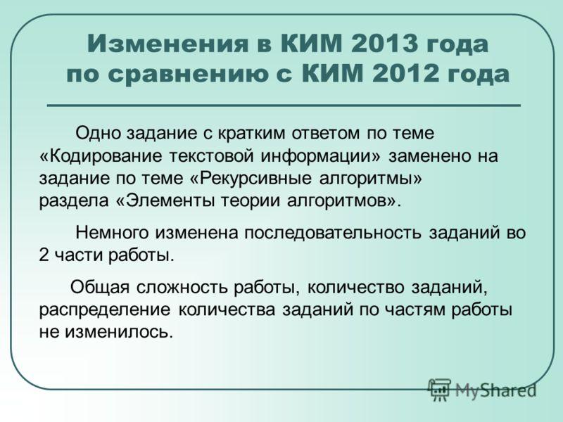 Изменения в КИМ 2013 года по сравнению с КИМ 2012 года Одно задание с кратким ответом по теме «Кодирование текстовой информации» заменено на задание по теме «Рекурсивные алгоритмы» раздела «Элементы теории алгоритмов». Немного изменена последовательн