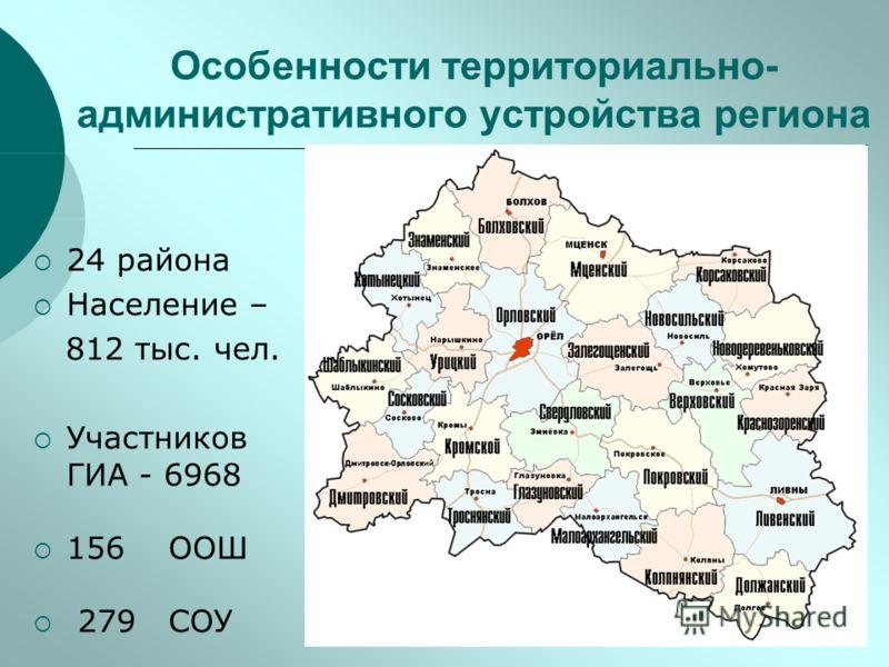 Особенности территориально- административного устройства региона 24 района Население – 812 тыс. чел. Участников ГИА - 6968 156 ООШ 279 СОУ