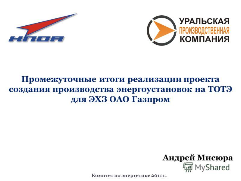 Комитет по энергетике 2011 г. Промежуточные итоги реализации проекта создания производства энергоустановок на ТОТЭ для ЭХЗ ОАО Газпром Андрей Мисюра
