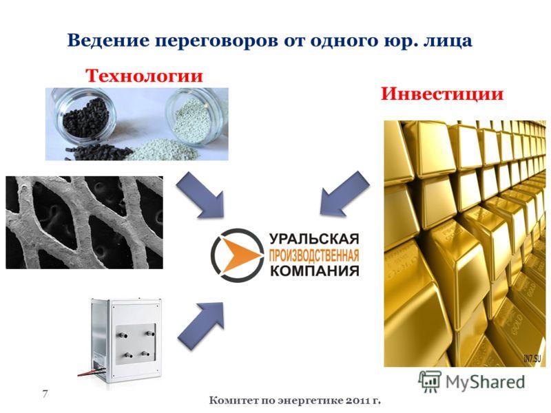 7 Ведение переговоров от одного юр. лица Комитет по энергетике 2011 г. Технологии Инвестиции