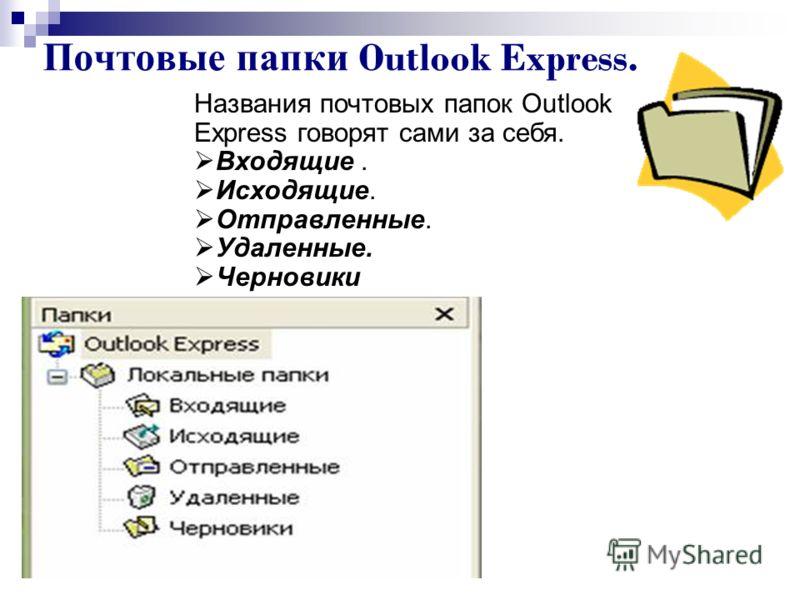 Почтовые папки Outlook Express. Названия почтовых папок Outlook Express говорят сами за себя. Входящие. Исходящие. Отправленные. Удаленные. Черновики