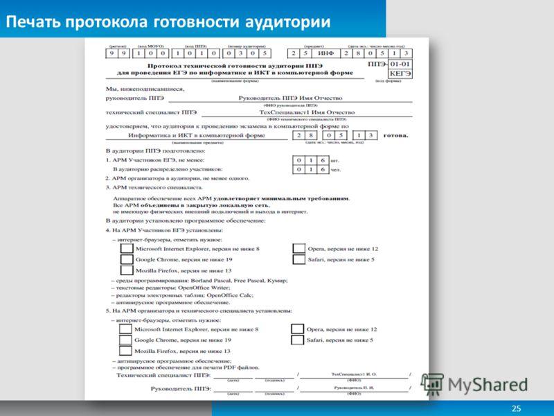 Печать протокола готовности аудитории 25