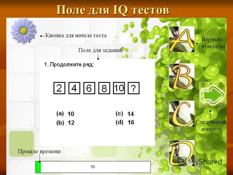 Поле для IQ тестов Поле для заданий Кнопка для начала теста Прошло времени Вариант ответа (а) Следующий вопрос