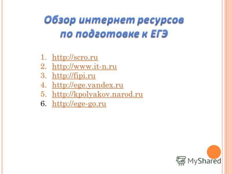 1.http://scro.ruhttp://scro.ru 2.http://www.it-n.ruhttp://www.it-n.ru 3.http://fipi.ruhttp://fipi.ru 4.http://ege.yandex.ruhttp://ege.yandex.ru 5.http://kpolyakov.narod.ruhttp://kpolyakov.narod.ru 6.http://ege-go.ruhttp://ege-go.ru