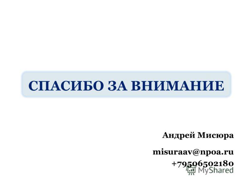 СПАСИБО ЗА ВНИМАНИЕ Андрей Мисюра misuraav@npoa.ru +79506502180
