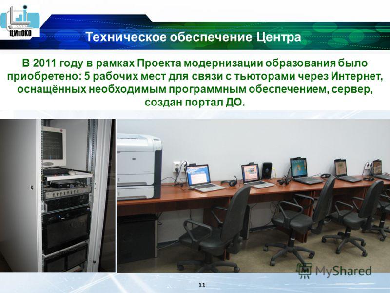 11 В 2011 году в рамках Проекта модернизации образования было приобретено: 5 рабочих мест для связи с тьюторами через Интернет, оснащённых необходимым программным обеспечением, сервер, создан портал ДО. Техническое обеспечение Центра
