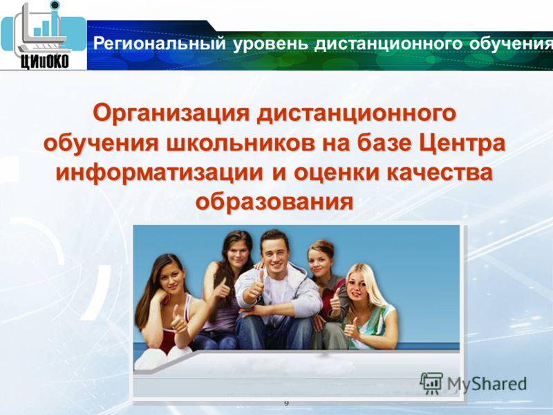 9 Организация дистанционного обучения школьников на базе Центра информатизации и оценки качества образования Региональный уровень дистанционного обучения
