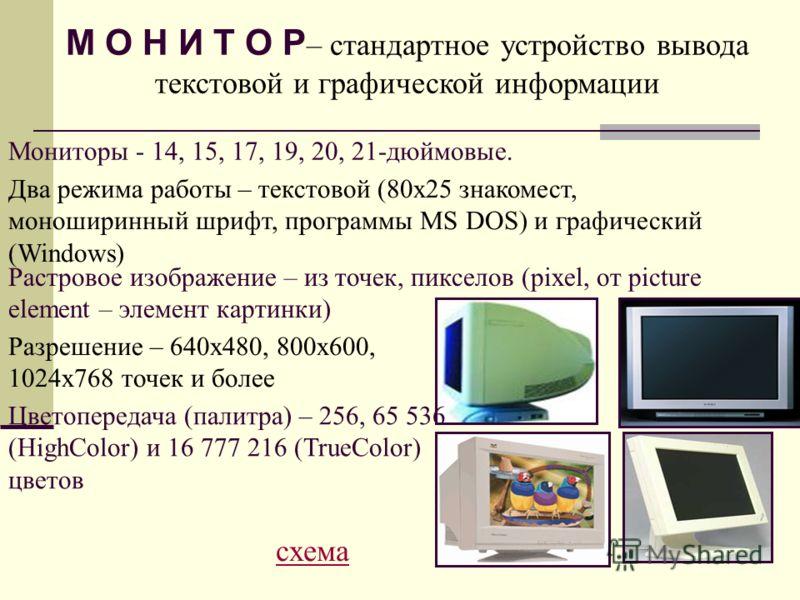 М О Н И Т О Р – стандартное устройство вывода текстовой и графической информации Мониторы - 14, 15, 17, 19, 20, 21-дюймовые. Два режима работы – текстовой (80х25 знакомест, моноширинный шрифт, программы MS DOS) и графический (Windows) Растровое изобр
