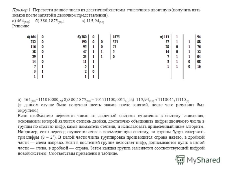 Пример 1. Перевести данное число из десятичной системы счисления в двоичную (получить пять знаков после запятой в двоичном представлении). а) 464 (10) ;б) 380,1875 (10) ;в) 115,94 (10) Решение а) 464 (10) =111010000 (2) ; б) 380,1875 (10) = 101111100
