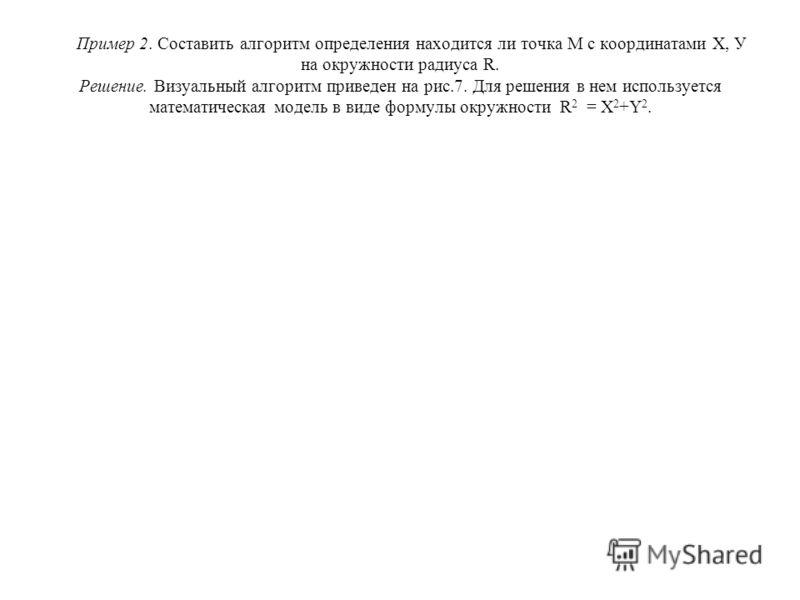 Пример 2. Составить алгоритм определения находится ли точка М с координатами Х, У на окружности радиуса R. Решение. Визуальный алгоритм приведен на рис.7. Для решения в нем используется математическая модель в виде формулы окружности R 2 = X 2 +Y 2.