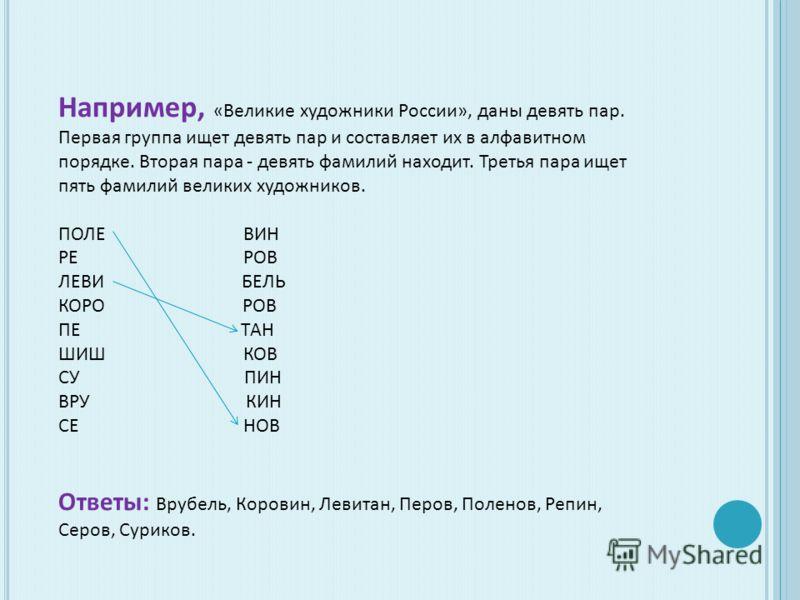 Например, «Великие художники России», даны девять пар. Первая группа ищет девять пар и составляет их в алфавитном порядке. Вторая пара - девять фамилий находит. Третья пара ищет пять фамилий великих художников. ПОЛЕ ВИН РЕ РОВ ЛЕВИ БЕЛЬ КОРО РОВ ПЕ Т