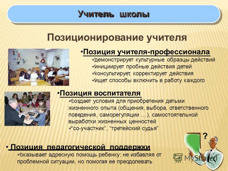 Учительшколы Позиционирование учителя Позиция учителя-профессионала демонстрирует культурные образцы действий инициирует пробные действия детей консультирует, корректирует действия ищет способы включить в работу каждого Позиция воспитателя создает ус