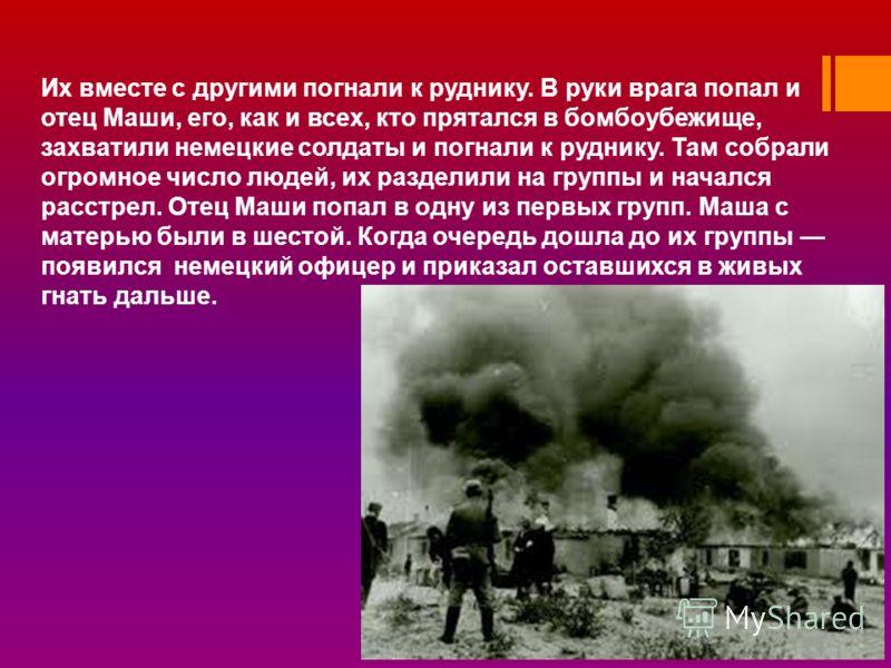 Их вместе с другими погнали к руднику. В руки врага попал и отец Маши, его, как и всех, кто прятался в бомбоубежище, захватили немецкие солдаты и погнали к руднику. Там собрали огромное число людей, их разделили на группы и начался расстрел. Отец Маш